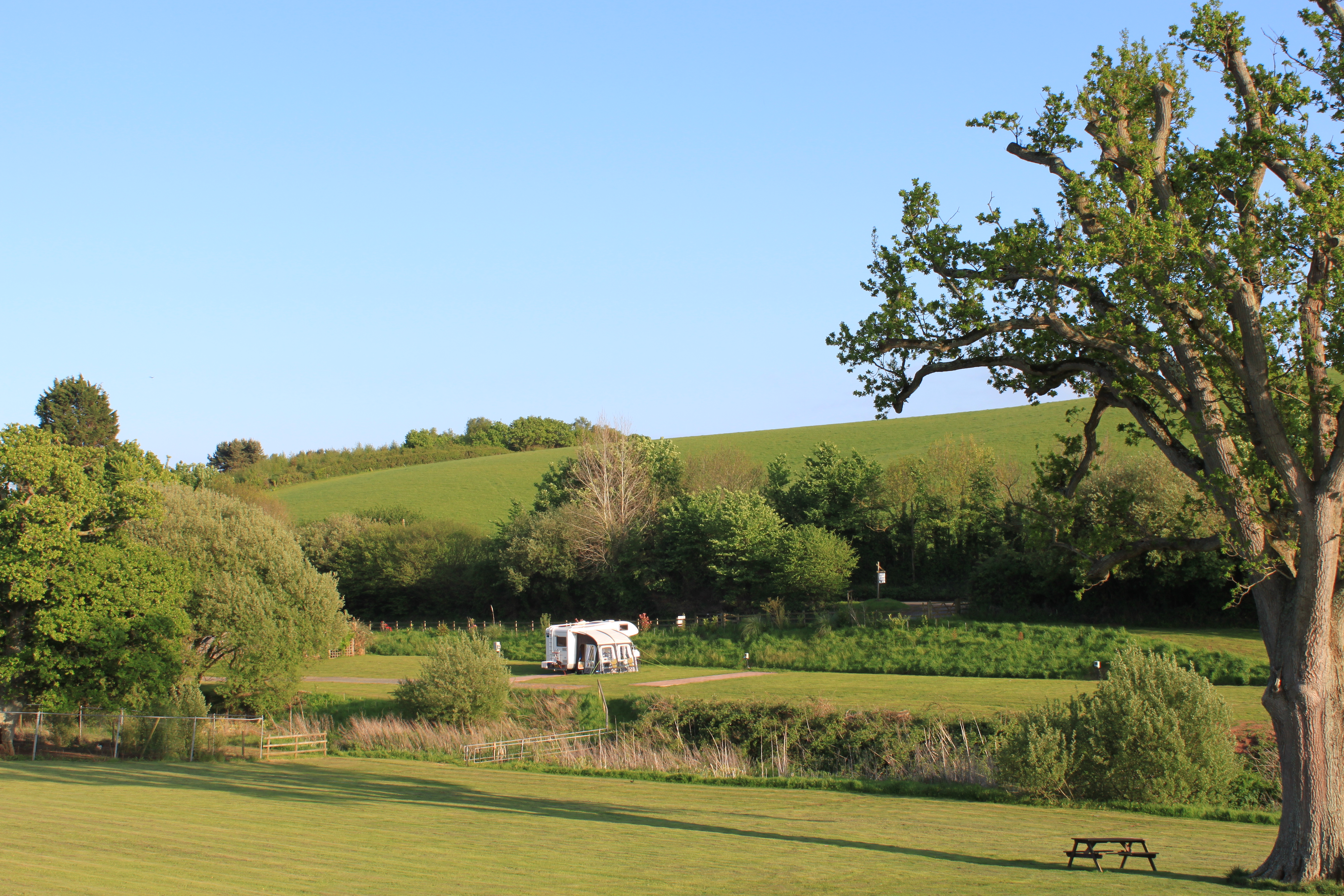 Hunters Lodge Caravan Camping Site motorhome pitch hardstanding awning wildlife countryside birdwatching